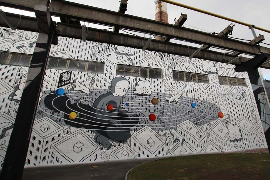 Millo's mural in Saint Petersburg