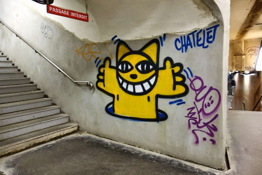 Graffiti at metro station in France