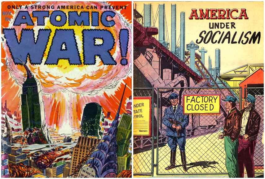 Political propaganda: Atomic War, 1950s; America under Socialism, 1950s