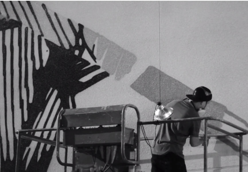 Push painting the mural