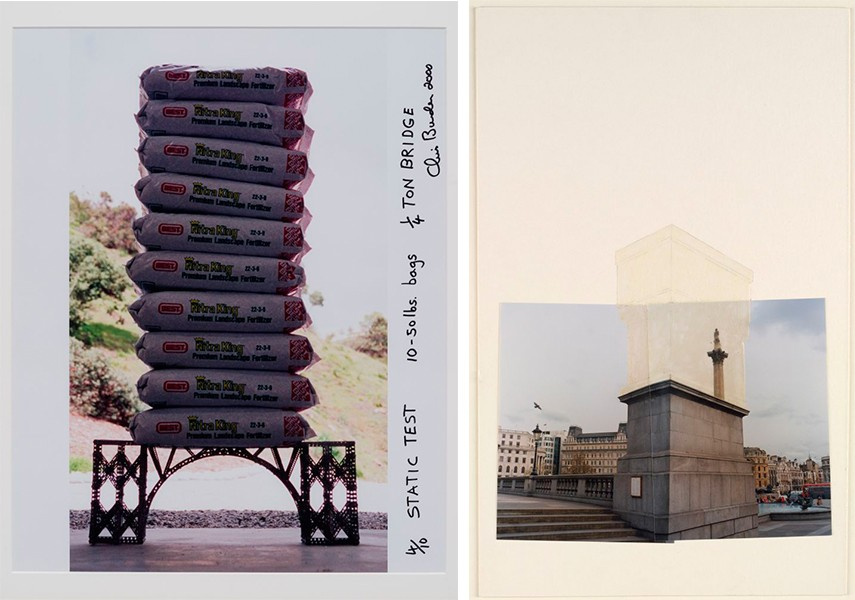 Left: Chris Burden -  Static Test, #410 #2000, Part of The 14 Ton Bridge, 1997 - 2000, Signed and dated color photograph. Right: Rachel Whiteread, Trafalgar Square Project, 1998, Photographic collage and acrylic on board.