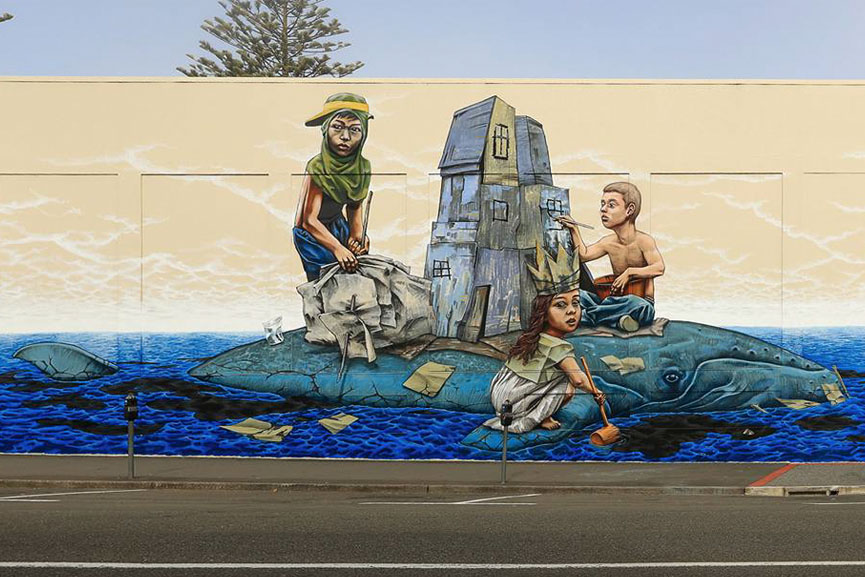 Rustam QBic new mural in Napier
