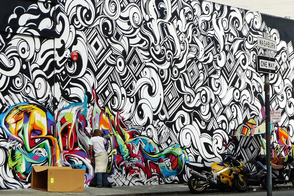 The San Francisco Mural by REVOK, REYES & STEEL used in Roberto Cavalli's graffiti-inspired line