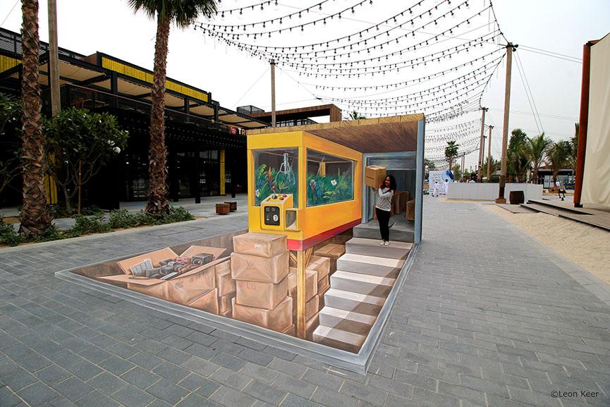 Street art Leon Keer DubaiCanvas 3D