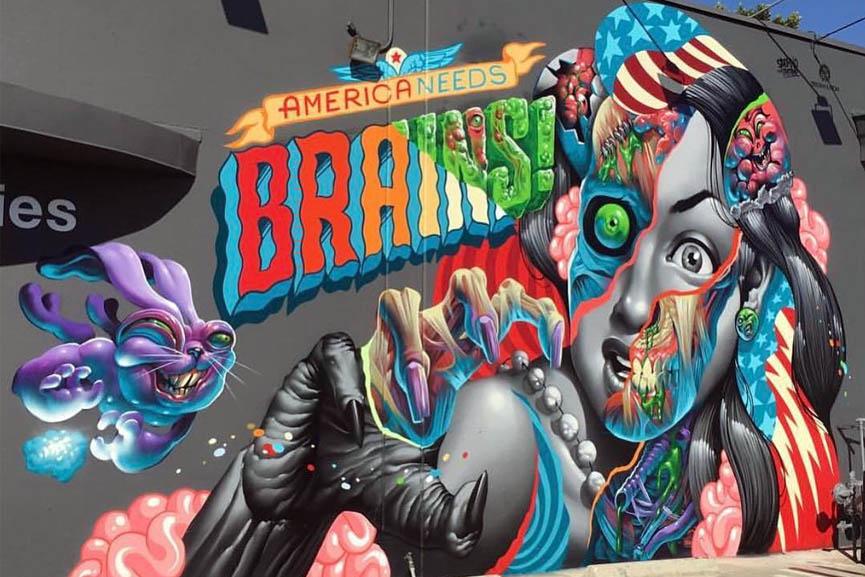 america needs brains mural