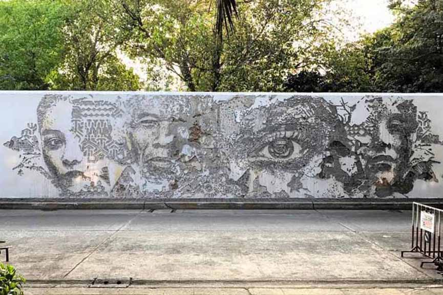 new mural by Vhils in Bangkok